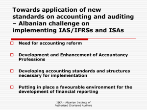 Towards application of new standards on accounting