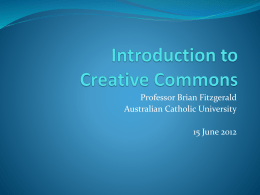 Professor Brian Fitzgerald – Introduction to CC