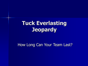 Tuck Everlasting Jeopardy