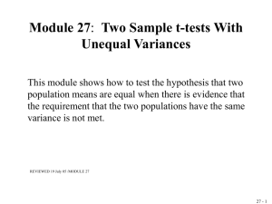 Module 5. Two Sample t-tests when Variances are not Equal