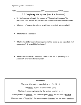 5.5 Completing the Square (Part 2