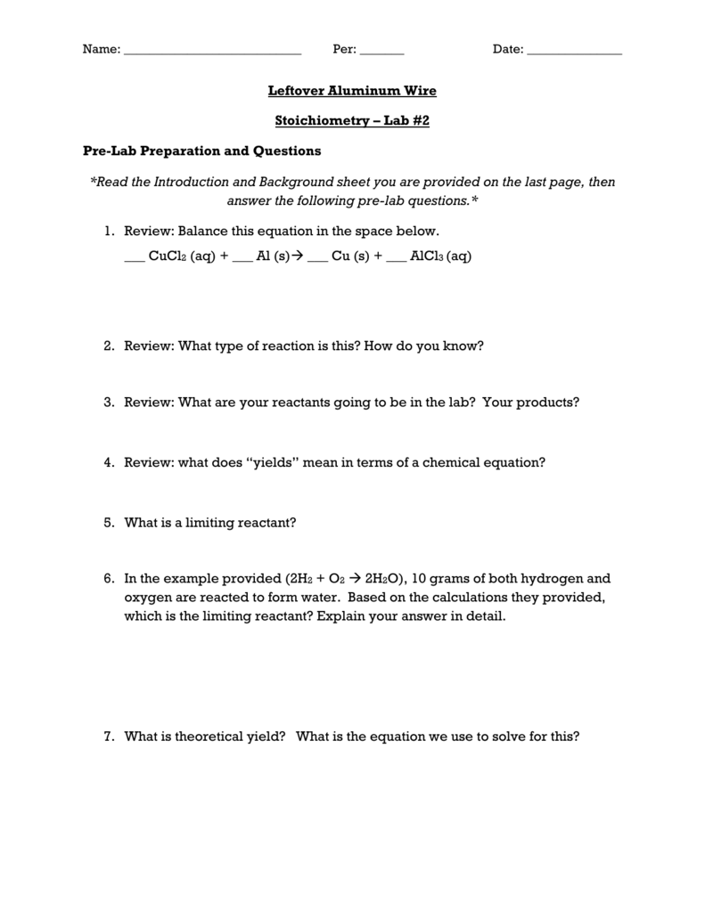 Worksheets Stoichiometry Worksheet 2 Percent Yield name per date leftover aluminum wire stoichiometry