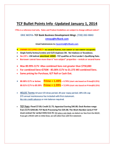TCF Bullet Points Info -Updated January 1, 2014