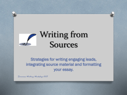 Writing an Engaging Lead