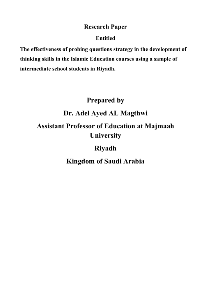 Research Paper Entitled The effectiveness of probing questions