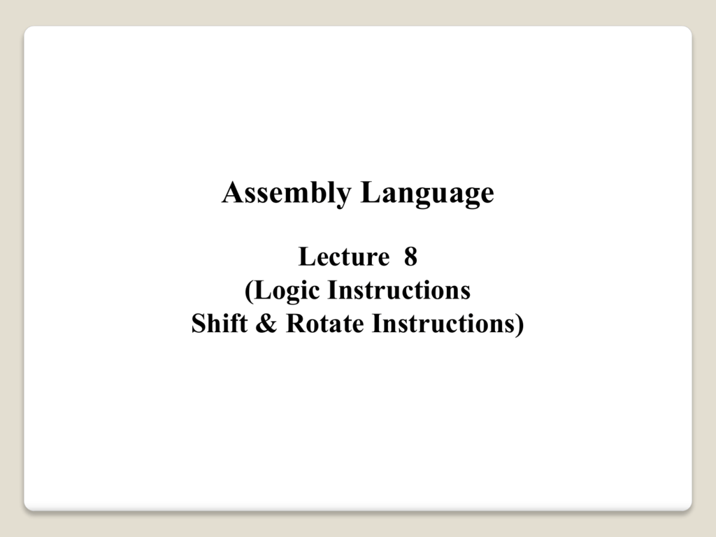 AND, OR, XOR Instructions
