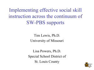 Implementing effective social skill instruction across the