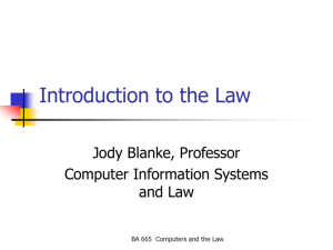 Introduction to the Law
