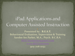 Using the iPad to Support Communication, Academic, and Social