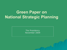 Green Paper on National Strategic Planning