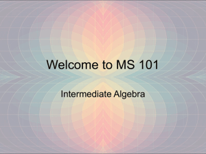 Welcome to MS 101
