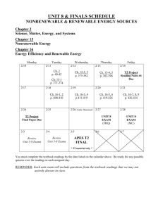 Unit 8 Schedule - the Kennedy APES website