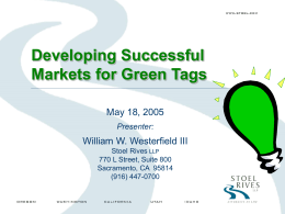 Developing Successful Markets for Green Tags