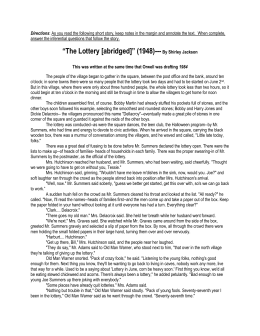The short story the lottery analysis essay