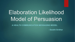 Elaboration Likelihood Model of Persuasion