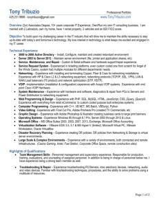Overview (2yr) Associates Degree, 10+ years corporate IT