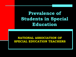 Prevalence of Students in Special Education