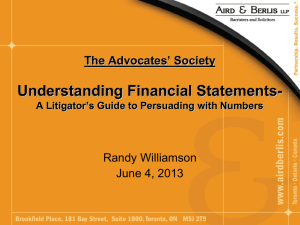 The Advocates' Society Understanding Financial