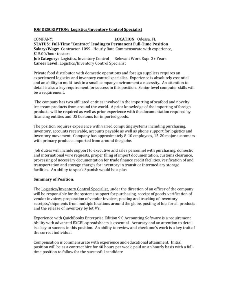 job description logisticsinventory control - Inventory Control Description