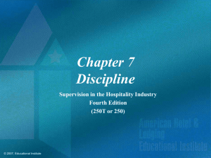 Supervision in the Hospitality Industry Chapter 7 Power Point
