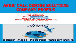 Afric call centre solutions COMPANY PRFILE 2015