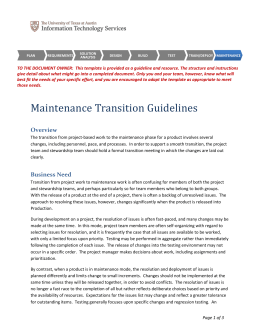Maintenance Transition Guidelines