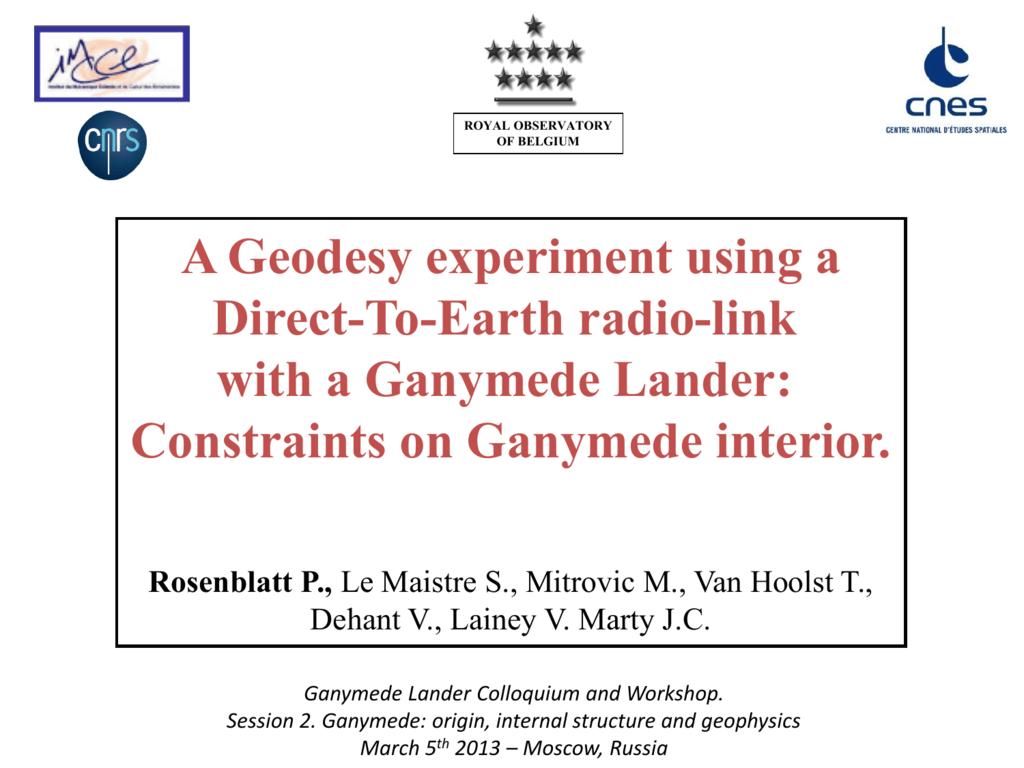 PowerPoint Presentation - Ganymede Lander: scientific goals and