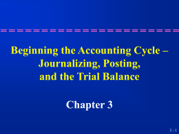Beginning the Accounting Cycle – Journalizing, Posting, and the