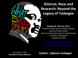 Distrust, Race and Research: Beyond the Legacy