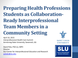 Preparing Health Professions Students as Collaboration
