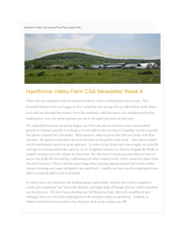 Week 6 Hawthorne Valley Farm Newsletter