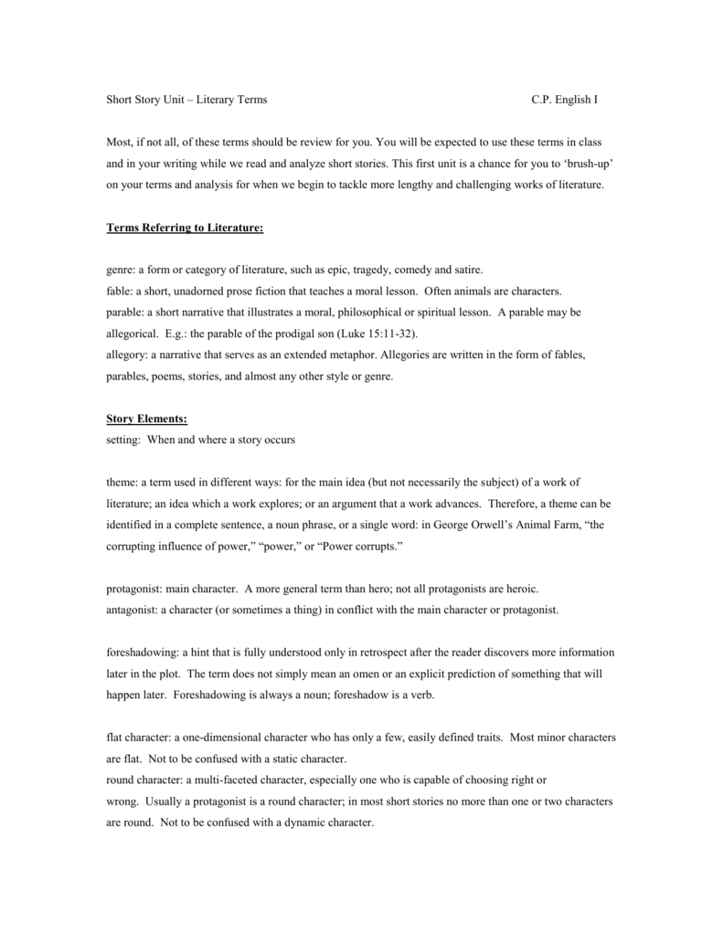 english short story terms