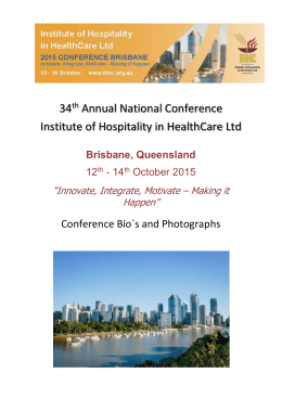 Brisbane, Queensland - Institute of Hospitality in Health Care