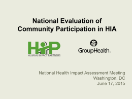 Health Impact Assessment Training