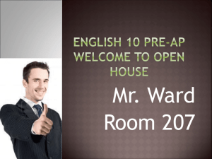 English I and II Welcome to Open House