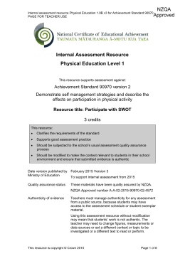 Level 1 Physical Education internal assessment resource