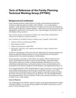 Terms of Reference of the Family Planning Technical Working Group