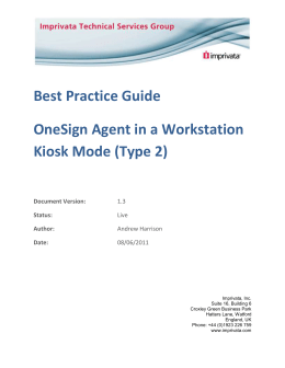 Best practice Guide – Type 2 Agent in Kiosk Workstation Mode V1.3