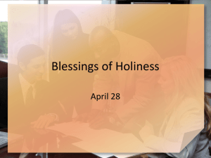 Blessings of Holiness