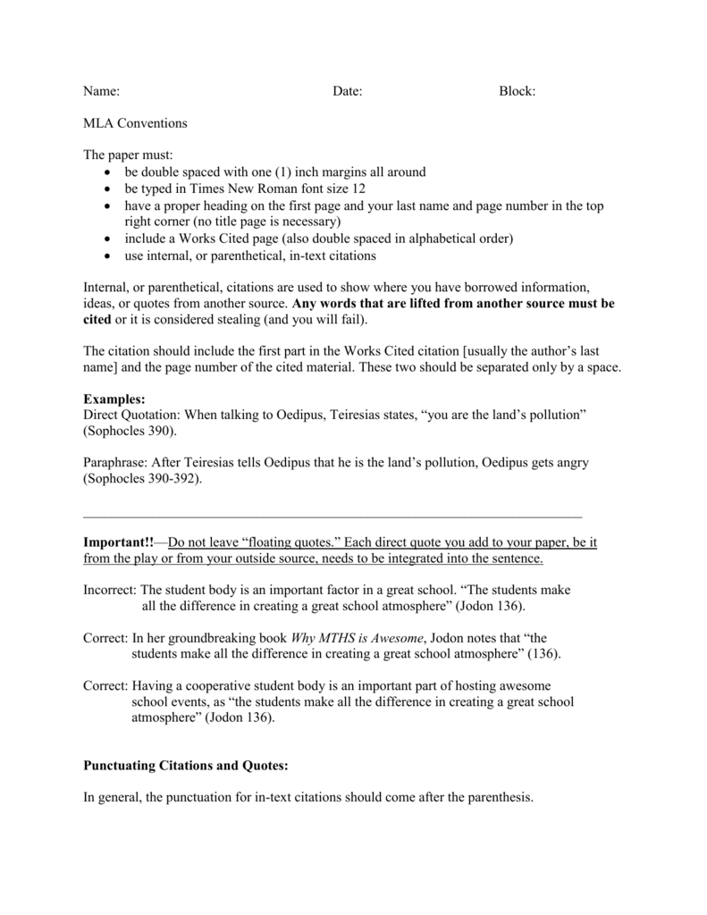 MLA Conventions for Using Parenthetical Citations Worksheet
