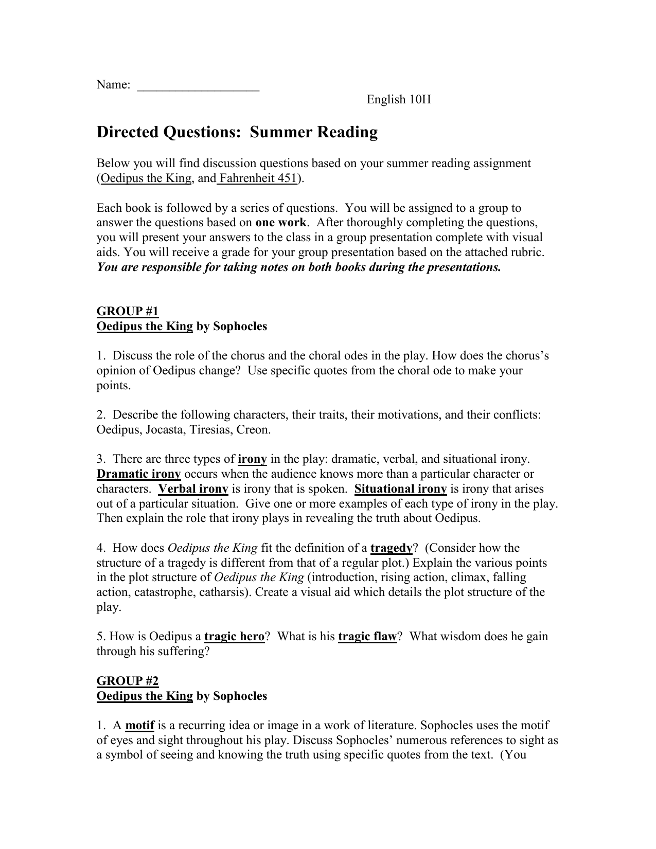 Summer Reading Group Questions