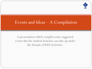 A presentation which compiles some suggested events
