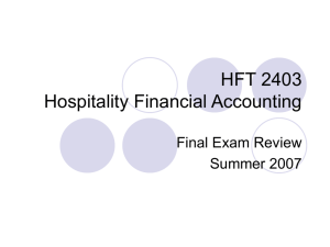 HFT 2403 Hospitality Financial Accounting