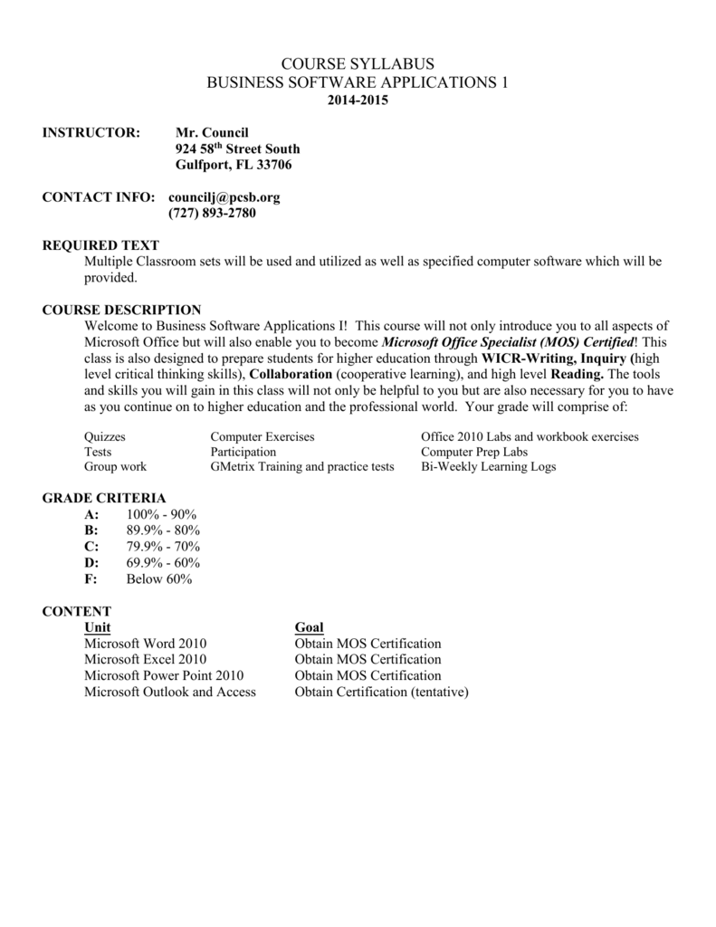 COURSE SYLLABUS (Sample) - Pinellas County Schools