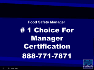 PowerPoint Presentation - Food Manager Certification