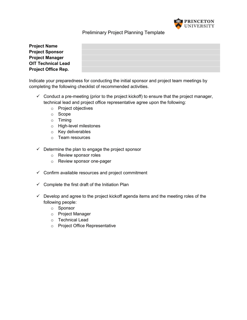 OIT PreMeeting Agenda - Pre project planning template
