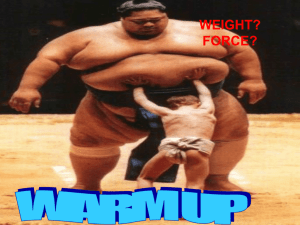 warm up what does it mean when we say that weight is a force?