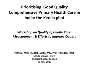 Prioritising Good Quality Comprehensive Primary Health Care in India