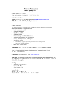 Database Management CS579 Spring 2015