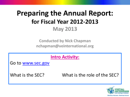 Annual Report Presentation – Spring 2013